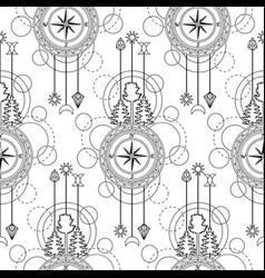 Compass seamless pattern vector