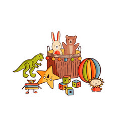 Composition different childish toys flat vector