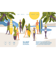 Concept landing page for surfers surf school vector