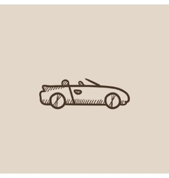 Convertible car sketch icon vector