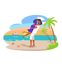 Couple cuddling by seaside vector