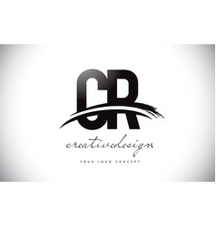Cr c r letter logo design with swoosh and black vector