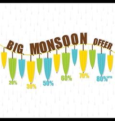 Creative umbrella big monsoon offer banner vector