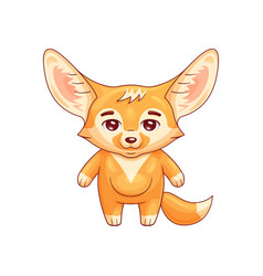 cute fennec fox calmly stands with smile amusing vector image