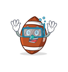 Diving american football character cartoon vector