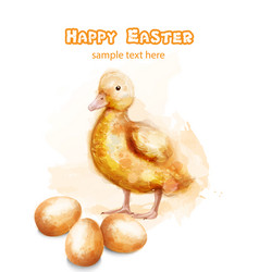 easter ducky watercolor card happy easter vector image