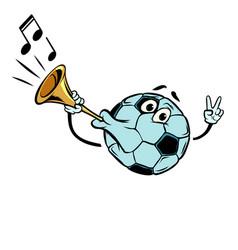 Fan horn loud sound character soccer ball vector