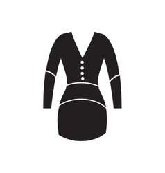 Flat icon in black and white dress vector