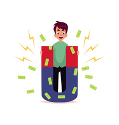 flat office man attracting money by magnet vector image