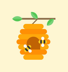 Flying bees and beehive on branch vector