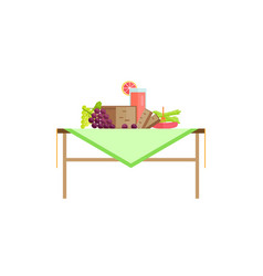 Food for breakfast and grapefruit juice on table vector