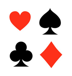 Four playing card signs on white background vector