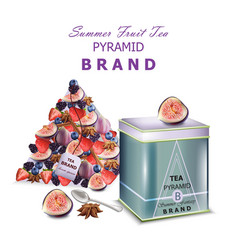 fruits tea realistic packaging pyramid vector image