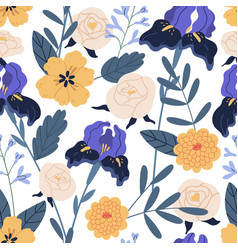gorgeous seamless floral pattern with irises and vector image