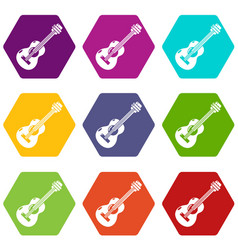 guitar icons set 9 vector image