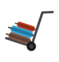 Hand cart suitcase luggage travel equipment vector