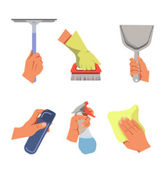 hands holding cleaning tools and products vector image
