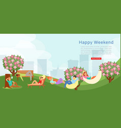 happy city weekend outdoors leisure in park vector image