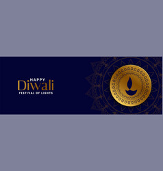 happy diwali dark blue banner with golden diya vector image