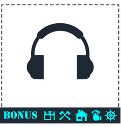 headphones icon flat vector image