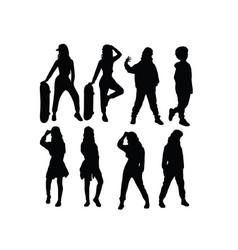 Hip hop kid silhouettes vector