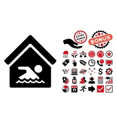 Indoor water pool flat icon with bonus vector
