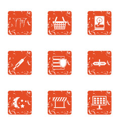 Information energy icons set grunge style vector