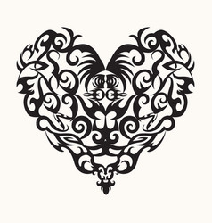 isolated black creative design heart tattoo vector image vector image