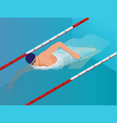 isometric fit swimmer training in the swimming vector image