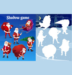 Kids christmas shadow matching riddle with santa vector