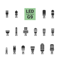 Led light g9 bulbs silhouette icon set vector