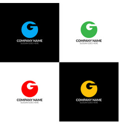 letter g in circle logo icon flat design vector image