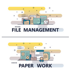 Line art file management paperwork template vector