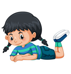 little girl with black hair vector image