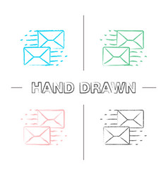 mailing hand drawn icons set vector image