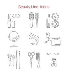 Makeup Cosmetic and Beauty line icons vector image vector image