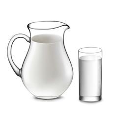 Milk jug and glass milk vector