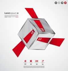 Modern cube origami infographic vector image