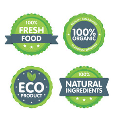 Modern green eco badge set 100 percent organic vector