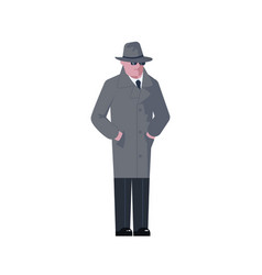 Mysterious man wearing a gray hat and coat vector