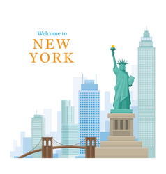new york landmarks and skyscraper vector image