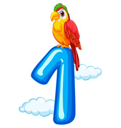 One parrot on sky template vector