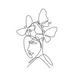 one single line drawing woman with butterfly line vector image
