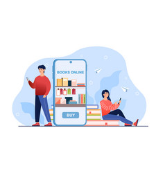 Online bookshop teens use app for buying books vector