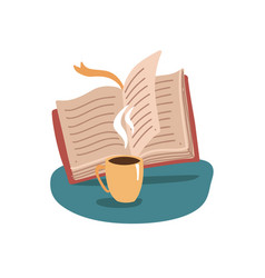 open book and cup mug hot tea or coffee vector image
