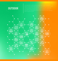 Outdoor concept in honeycombs with thin line icons vector