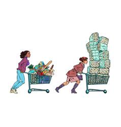 panic epidemic women in supermarket vector image