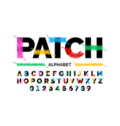 patched font design stitched with thread vector image