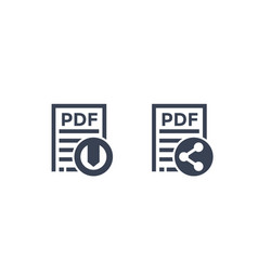 pdf document download file and share icons vector image
