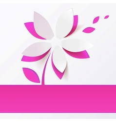 Pink paper flower greeting card template vector image